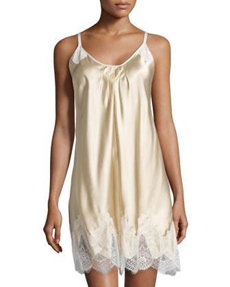 Simply Elegant Lace-Trim Chemise, Light Gold