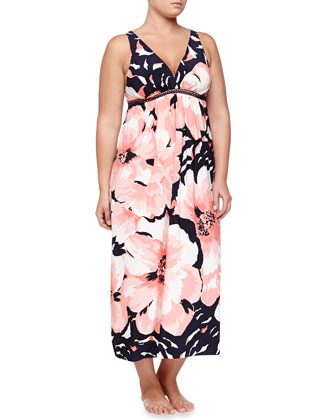 Bold Blossoms Sleeveless Long Gown
