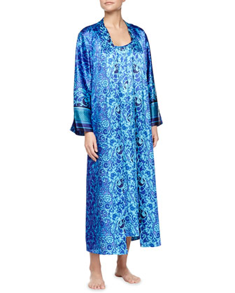Scroll-Print Charmeuse Long Robe