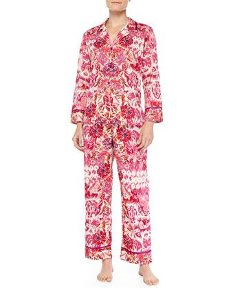 Floral-Print Ikat Pajama Set, Pink
