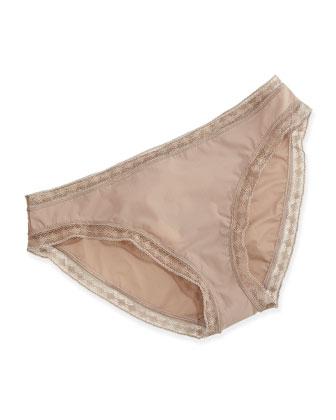 Satin Seduction Lace-Trim Bikini Briefs, Warm Taupe
