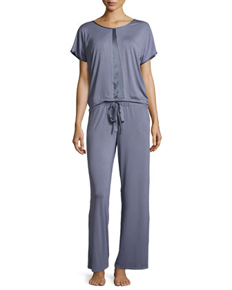 Bohemian Rhapsody Silk Trimmed Top and Silk Drawstring Pant PJ Set, Blue ...