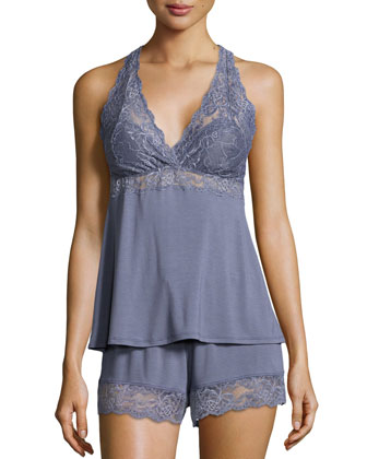 Whispers of Love Lace-Inset Pajama Set, Blue Granite