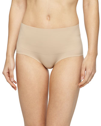 Undie-Tectable?? High-Waist Bikini Briefs, Soft Nude