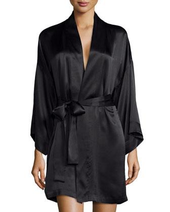 Key Kimono Wrap Robe, Black