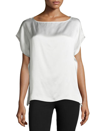 Key Silk Flutter Top, Oyster