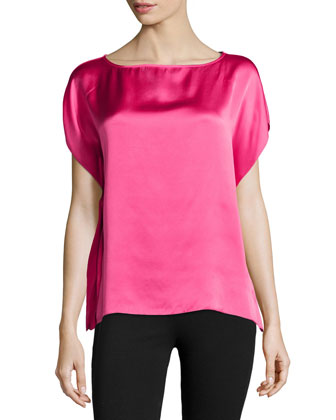 Key Silk Flutter Top, Pink