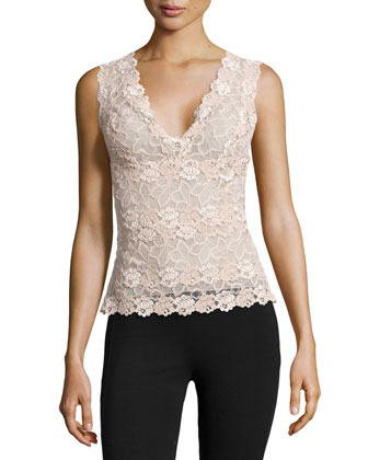 Rose Parfait Lace Tank Top, Nude