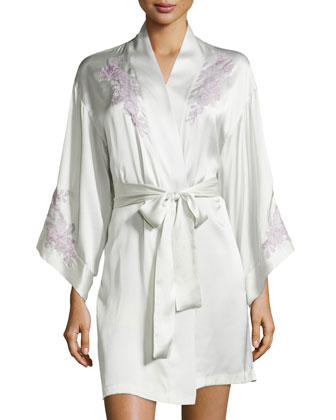 Lolita Lace Silk Short Robe, Oyster