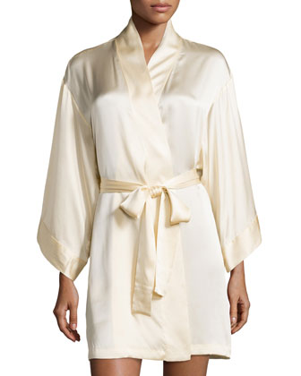 Lolita Silk Short Robe, Alabaster