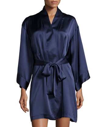 Lolita Silk Short Robe, Midnight Navy