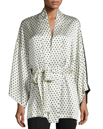 Polka-Dot Silk Short Robe, Ivory