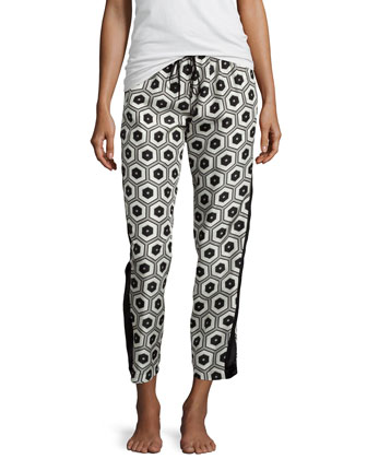 Hexagon Printed Pants, Oyster