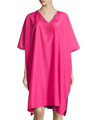 Lucille Floral Embroidered Caftan, Pink