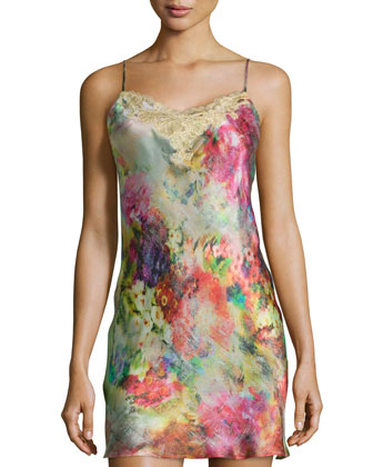 Whimsical Floral-Print Lace Chemise, Multi