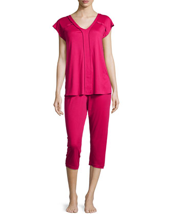 Pisa Crop Pajama Set, Cranberry