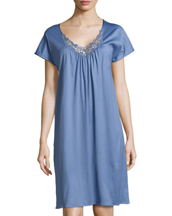 Roma Short-Sleeve Gown, Blue Shadow
