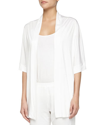 Venezia Open-Front Lounge Jacket, Off-White