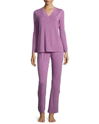 Champagne Pajama Set, Lilac Melange