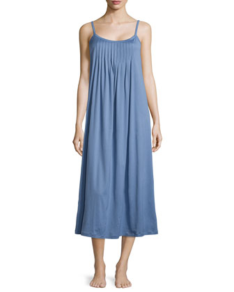 Juliet Pleated Babydoll Gown, Blue Shadow