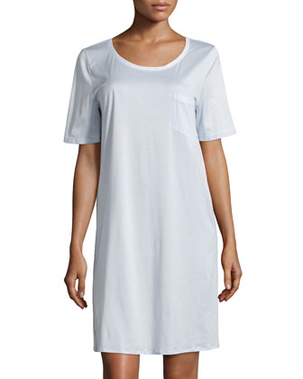 Cotton Deluxe Short-Sleeve Big Sleepshirt, Blue Glow