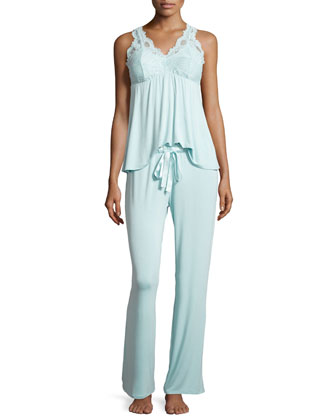 Belle Epoque Lace-Inset Pajama Set, Powder Blue