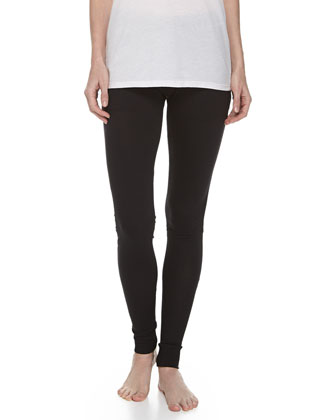 Cotton Ribbed V-Neck Tunic & Skinny-Leg Cotton Pants