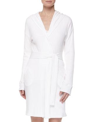 Waffle-Knit Robe, White