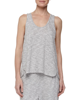 Piped Wing Jersey Tank, Silver