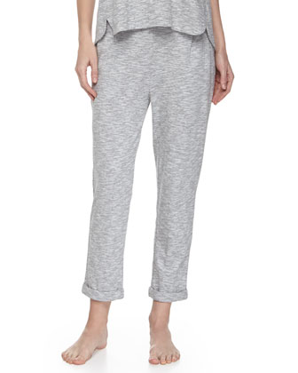 Piped Wing Jersey Tank & Slouchy Mouline-Cotton Lounge Pants