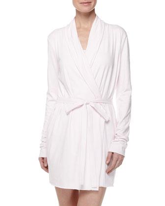 Jersey-Knit Wrap Robe, Powder