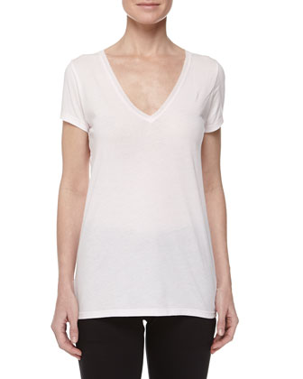 Sexy V-Neck Jersey Tee & Skinny-Leg Cotton Pants