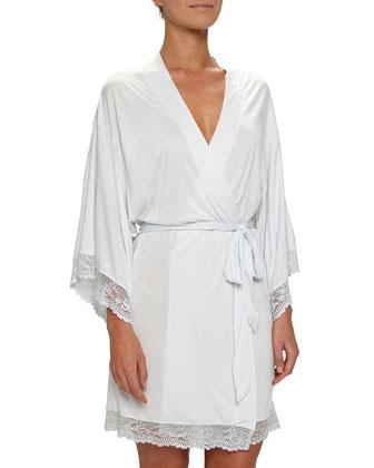 Colette Kimono Robe & Chemise, White