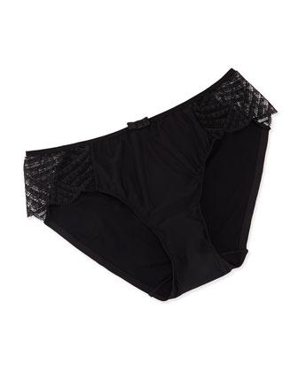 Illusion Lace Sides Bikini Briefs, Black