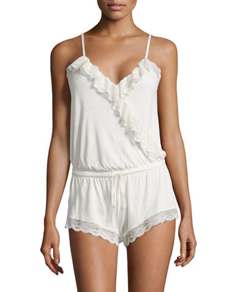 Something Blue Lace-Trim Teddy w/ Shorts, Ivory