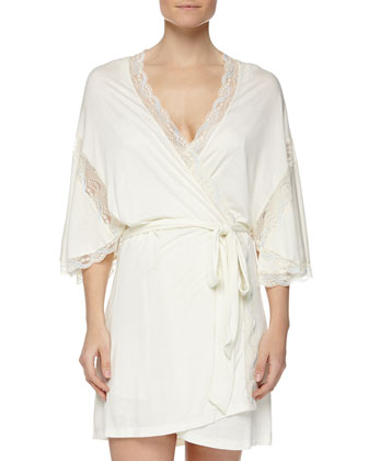 Something Blue Robe with Lace Detail, Ivory