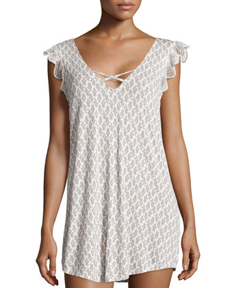 By-The-Sea Crisscross Tunic Sleepshirt, Multi