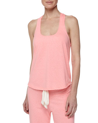 Heather Racerback Knit Tank, Hot Pink