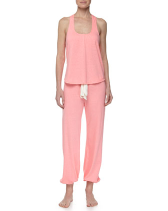 Heather Racerback Knit Tank & Cropped Lounge Pants, Hot Pink