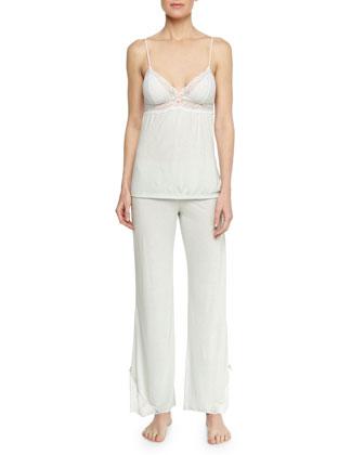 Paloma Lace-Trim Jersey Camisole & Pajama Pants