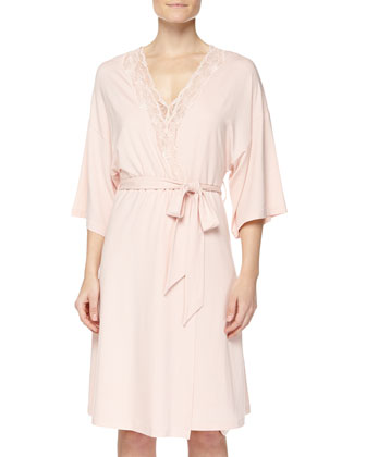 Valencia Tank Gown & Jersey-Knit Robe, Dusty Rose