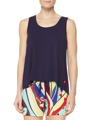 Swing Knit Tank with High-Low Hem, Navy