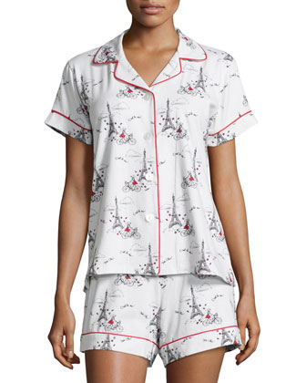 Girl-On-Bike Short Pajama Set, Cream/Multi