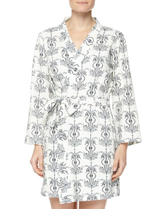 Seahorse-Print Cotton Robe & Button-Front Chemise, Black/White