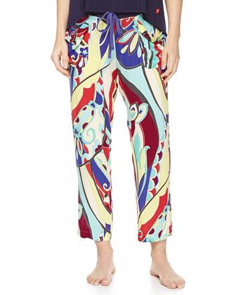 Swing Knit Tank with High-Low Hem & Mosaic Floral-Print Lounge Pants