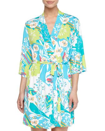 Fleur Patterned Wrap Robe & Lace-Trim Chemise