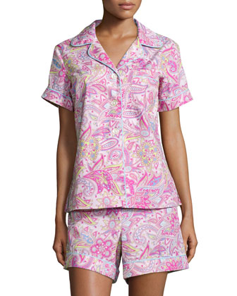 Floral-Print Classic Short Pajama Set, Pink Paisley