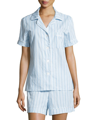 Striped Shorty Pajama Set, Turquoise Stripe