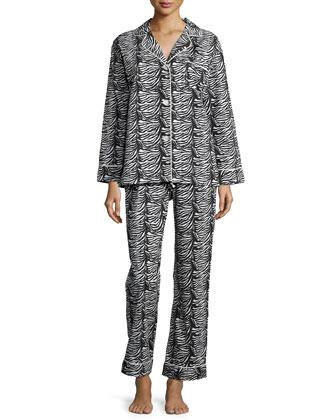 Printed Classic Pajama Set, Zebra, Women's