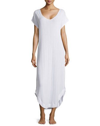 Crisscross Back Ribbed Dress, White